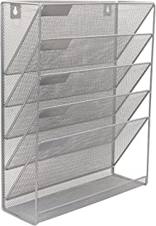 Superbpag Hanging File Organizer, 6 Tier Wall Mount Document Letter Tray File Organizer, Silver
