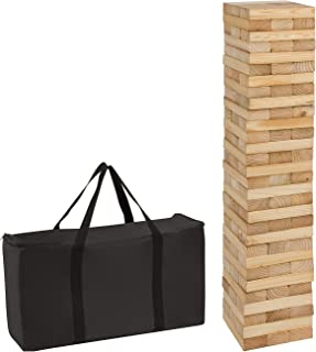 Trademark Innovations 90 Piece 3' Tall Giant Wooden Stacking Puzzle Game with Carry Case