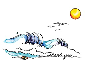 Catching the Wave Premium Thank You Cards - Note Cards Set of 12 Cards and Envelopes