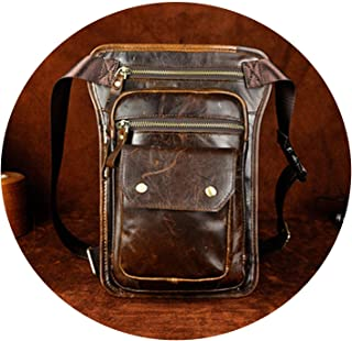 Men Genuine Leather Waist Bag Drop Leg Small Thigh Bags Hip Belt Packs Male Cowhide Phone Pouch Shoulder Crossbody Bag,Oil Yellow