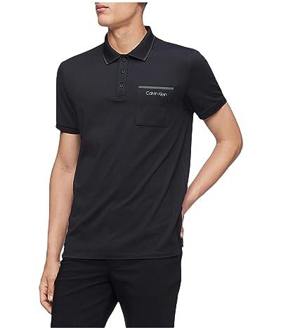 Calvin Klein Move 365 Short Sleeve Pocket Polo Quick Dry Moisture Wicking Features (Black) Men
