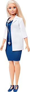 Barbie Doctor Doll, Curvy, Dressed in White Coat with Stethoscope and Blonde Hair, Gift for 3 to 7 Year Olds​​​​
