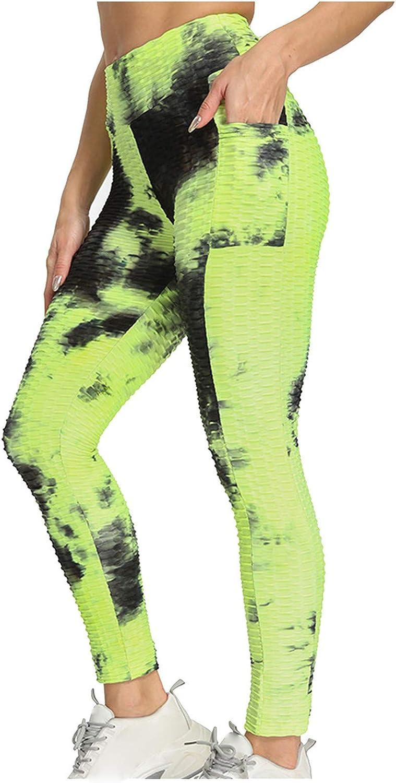 Uppada Women's Anti Cellulite Legging High Waist Tie-dye Breathable Stripe Yoga Pants with Pockets