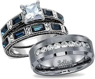 Bellux Style His & Hers Wedding Ring Sets Women's Stainless Steel Vintage Ring Set & Men's Titanimum Wedding Band