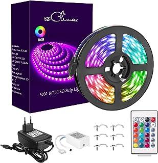 SZCLIMAX 5M 5050 RGB Kit de Tiras LED, Tira de Luz LED Flexible Multicolor con Control Remoto de 24 Teclas, Adaptador de A...