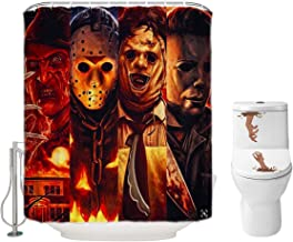 Halloween Shower Curtain Set for Bathroom- Scary Killer Freddy Jason Michael, Horror Movie Themed Holiday Polyester Fabric Decoration with Hooks and Toilet Stickers, Halloween Decor 72x72