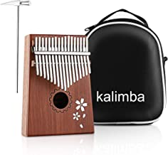 MINGPINHUIUS Kalimba 17 Key Thumb Piano, Mbira Thumb Drive with Bag and Instruction Songbook Portable Musical Instrument for Kids, Friends,Beginners,Music Lovers (Cherry blossom)