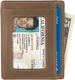 Leather Slim Wallet with ID Window, Minimalist Front Pocket RFID Blocking Card Holder Made of Full Grain Leather - The Freeman