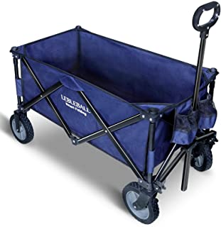 LEBLEBALL Folding Outdoor Utility Wagon Quick Set- Up Heavy Duty Garden Cart Collapsible Wagon Cart with Storage Bags Beac...