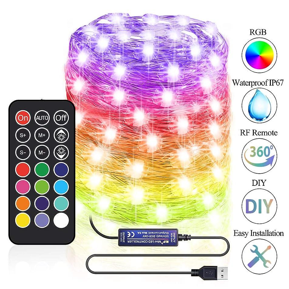 サンダル基礎クラスフェアリーストリングライト USB電源 リモコン付き 30フィート 防水 RGB 調光機能付き 屋外屋内装飾 LEDストリングライト 100個 星空ライト 寮 寝室 ホームデコレーション