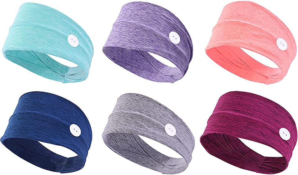 6 pieces Headband for Women,with Button Women Hair Band,Buttons Ladies Elastic Headwraps