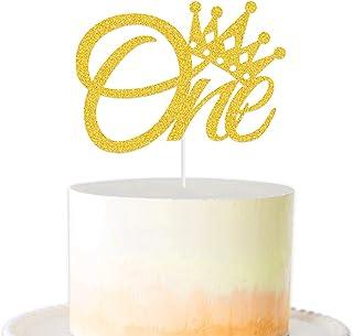 1st Birthday Cake Decoration,One Cake Topper for First Birthday Cake Decoration - Gold Crown Cake Toppe(Gold Glitter)
