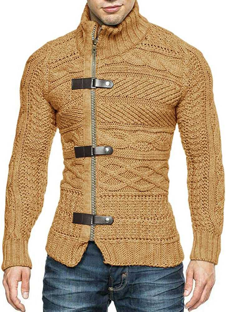 Karlywindow Mens Cable Knitted Oplique Zip Button Front Long Sleeve Cardigan Sweater
