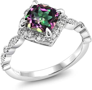 925 Sterling Silver 2.04 Ct Cushion Cut Green Mystic Topaz Solitaire Ring