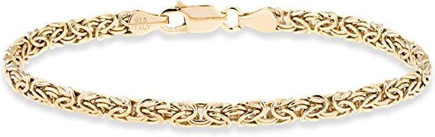 Miabella 925 Sterling Silver or 18K Gold Over Silver Italian 4mm Byzantine Link Chain Bracelet or Anklet Ankle Bracelet...