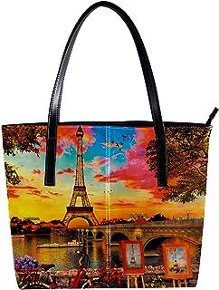 LORVIES - Borsa a tracolla da donna in pelle sintetica con torre Eiffel Parigi