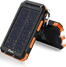 Solar Charger, F.Dorla 20000mAh Portable Outdoor Waterproof Solar Power Bank, Camping External Backup Battery Pack Dual 5V USB Ports Output, 2 Led Light Flashlight with Compass for iOS Android(Orange)