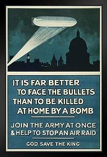 It is Far Better to Face The Bullets World War II Black Wood Framed Art Poster 14x20 inch