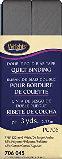 Wrights 117-706-045 Double Fold Quilt Binding Bias Tape, Light Gray, 3-Yard