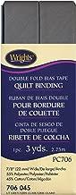 Wrights 117-706-045 Double Fold Quilt Binding Bias Tape, Light Gray, 3-Yard