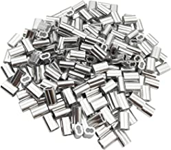 Sipery 200Pcs Aluminum Crimping Loop Sleeves Double Holes Cable Crimp Sleeves for 1.5mm 1/16 Inch Diameter Wire Rope and Cables