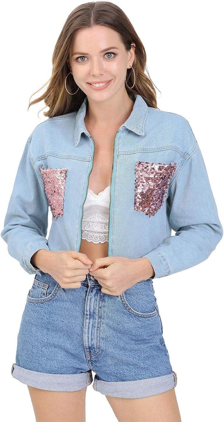 Allegra K Women's Casual Sequin Shiny Sparkle Drop Long Sleeves Zipper Crop Denim Jacket