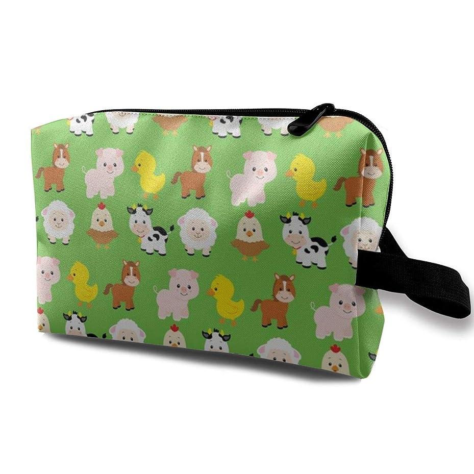 ティーム怠感ペインティング化粧ポーチ コンパクトサイズ,Green_3528の農場の動物、オックスフォードの布の多彩な袋の小型旅行