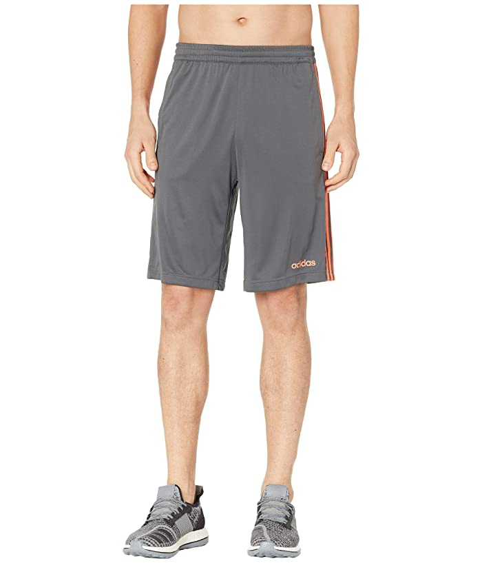 adidas D2M 3-Stripe Shorts (Grey Six/True Orange) Men