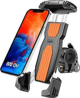 Grefay Fiets Telefoonhouder, Anti-Shake Snelspanner, Roestvrij Staal, 360 Graden Draaibaar, voor Smartphones van 4,7-6,9 I...