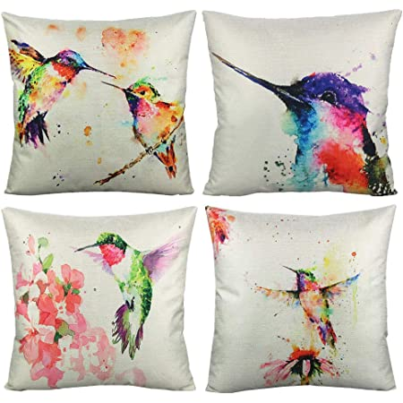 Amazon Com Vakado Birds Outdoor Throw Pillow Covers Watercolor Painting Floral Hummingbirds Spring Patio Decorative Cushion Cases Home Décor For Furniture Couch Bed Sofa 18x18 Inch Set Of 4 Home Kitchen