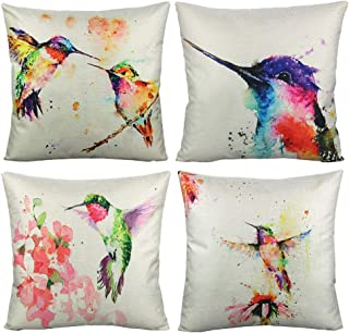 VAKADO Birds Outdoor Throw Pillow Covers Watercolor Painting Floral Hummingbirds Spring Patio Decorative Cushion Cases Home Décor for Furniture Couch Bed Sofa 18x18 Inch Set of 4