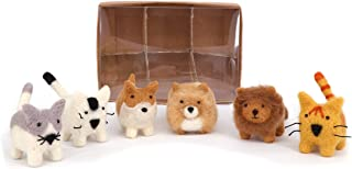 B & D Combined Inc. Needle Felt Cats and Dogs, Set of 6 Pieces, Packed into Brown Craft Box with PVC Cover. (Yellow)