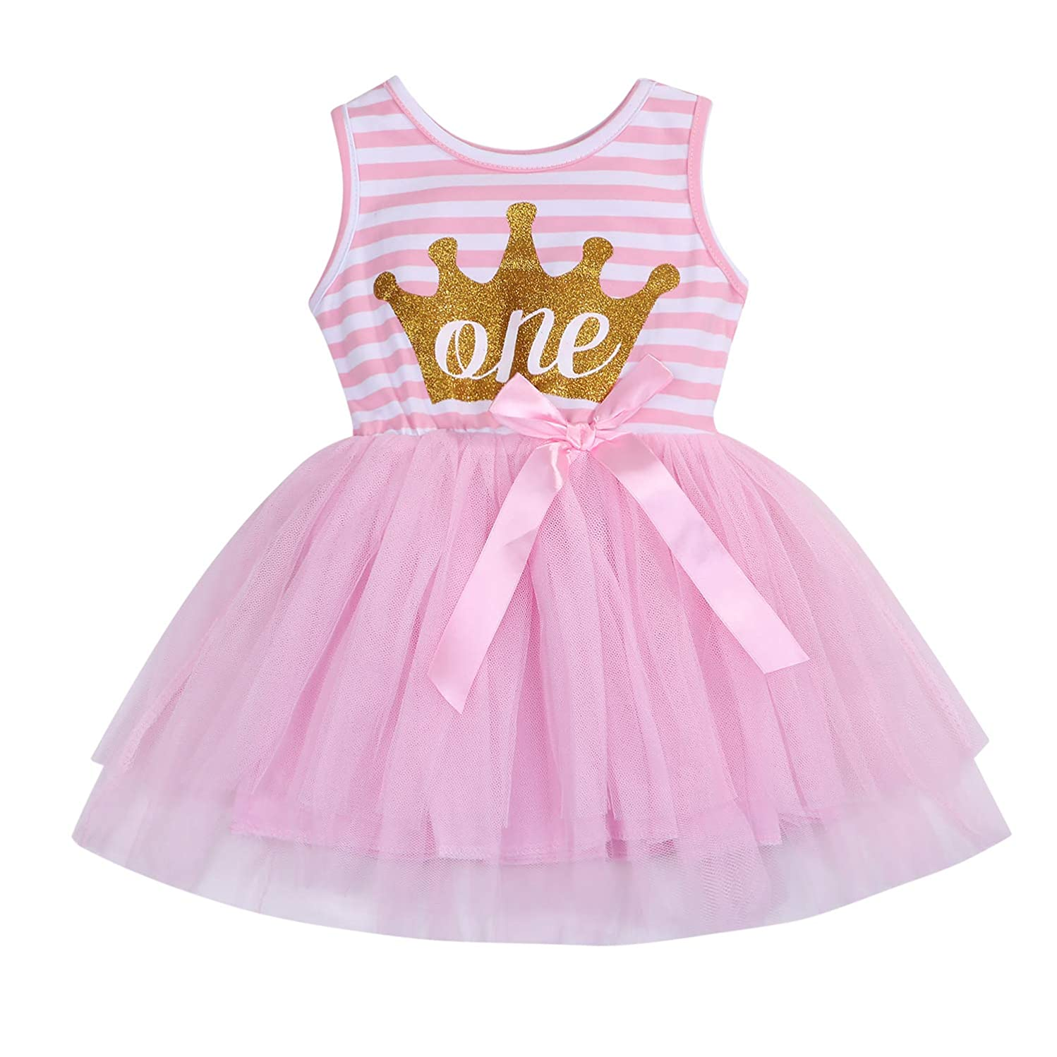 3Pcs Baby Girl One 1st Birthday Outfits Floral Romper Tulle Tutu Skirt Set Party Dress Costume Clothes