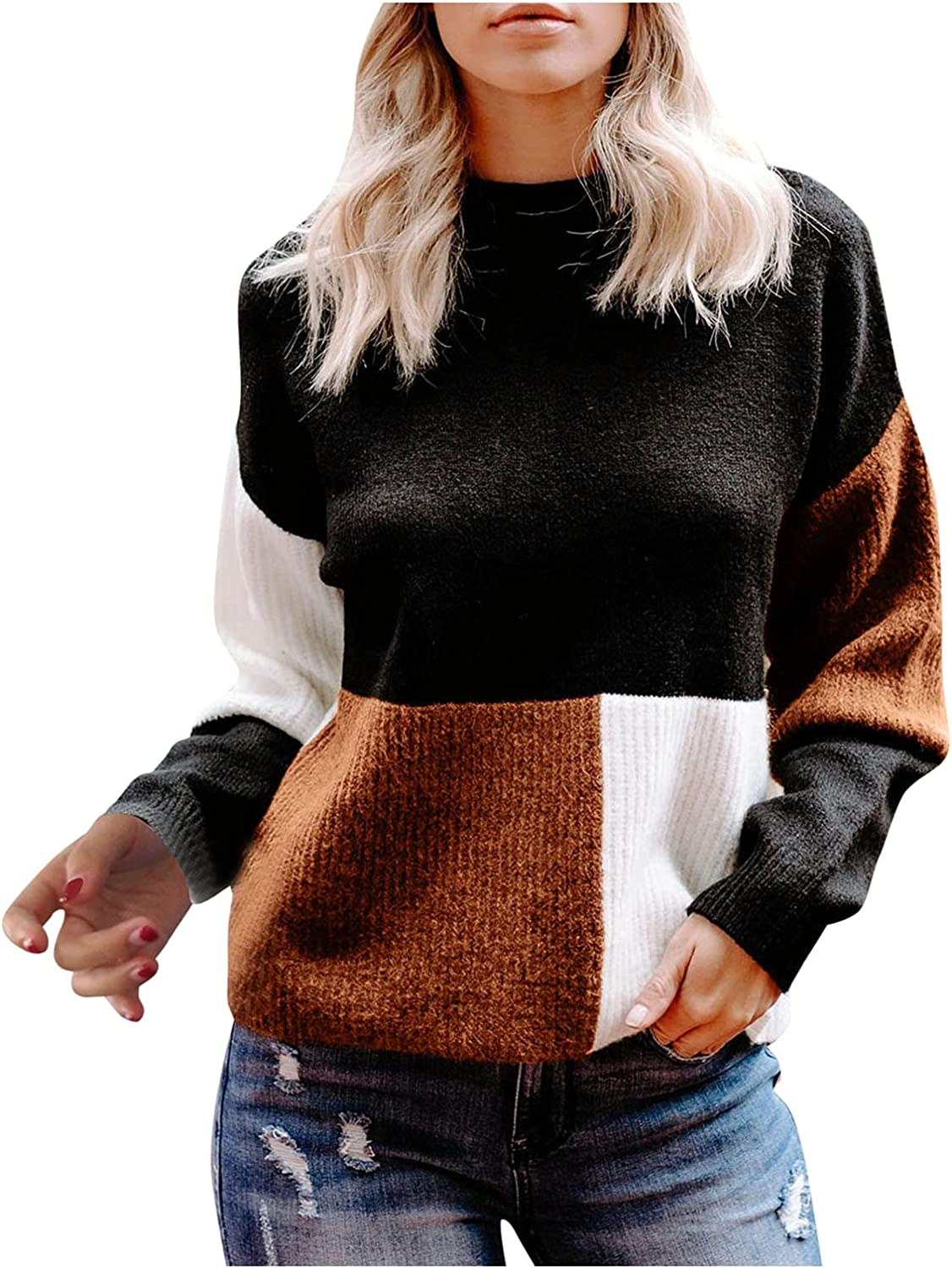 RUIY Women Sweaters for Fall,Winter Sweaters-Oversized Chunky Knit Color Block Batwing Sleeve Pullover Sweater Tops