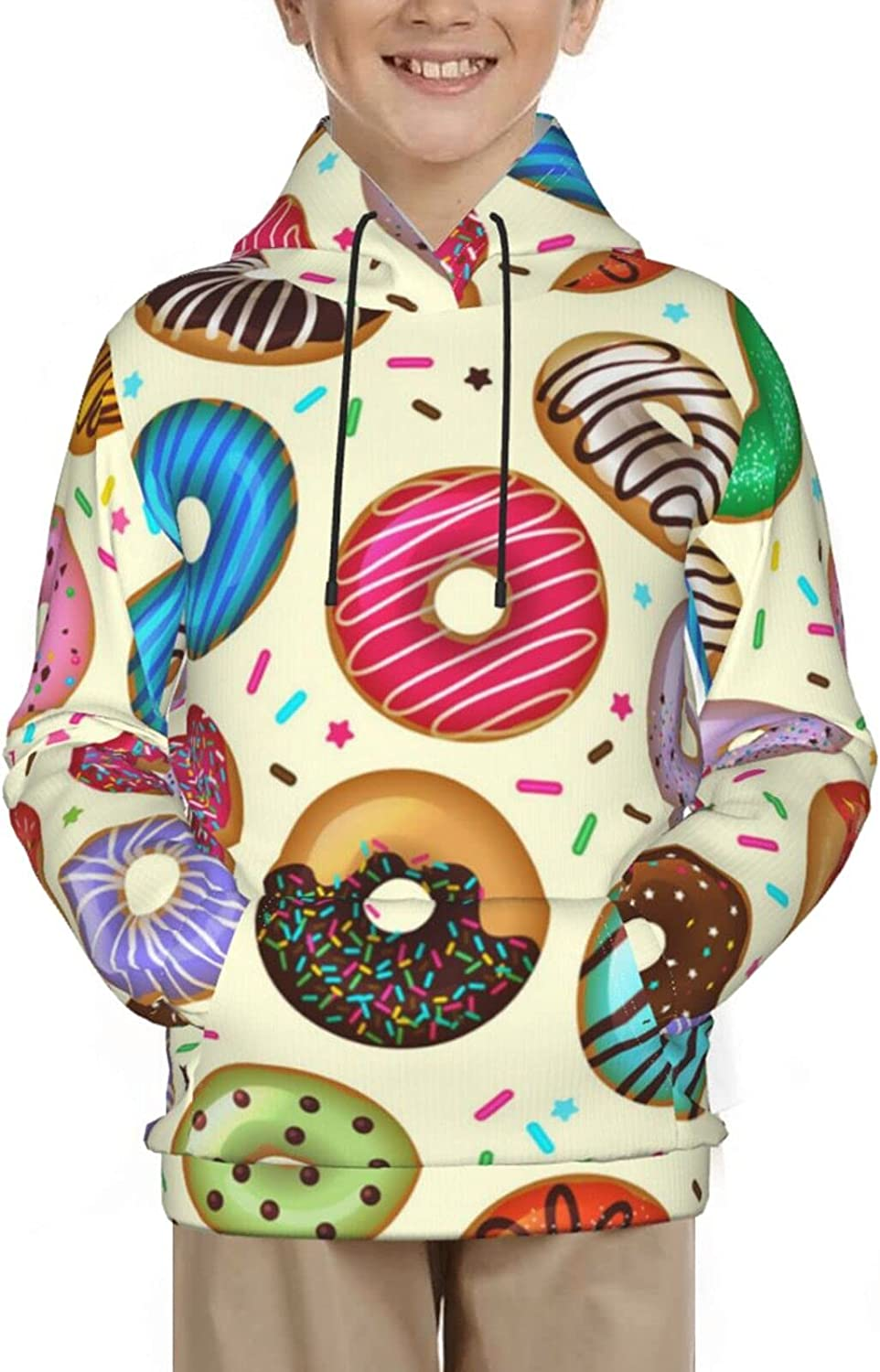 Cute Colorful Donuts Hoodies, Fashion 3D Print Sweatshirts, with Pocket Long Sleeves Pullover, for Boys Girls