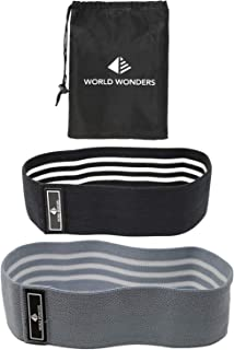Hip Resistance Bands by World Wonders | 80 Day Obsession Loop Bands for Mobility, Stretching and Warmups | Workouts for Abductors, Legs and Booty Exercises | Set of 2 w/Carry Bag
