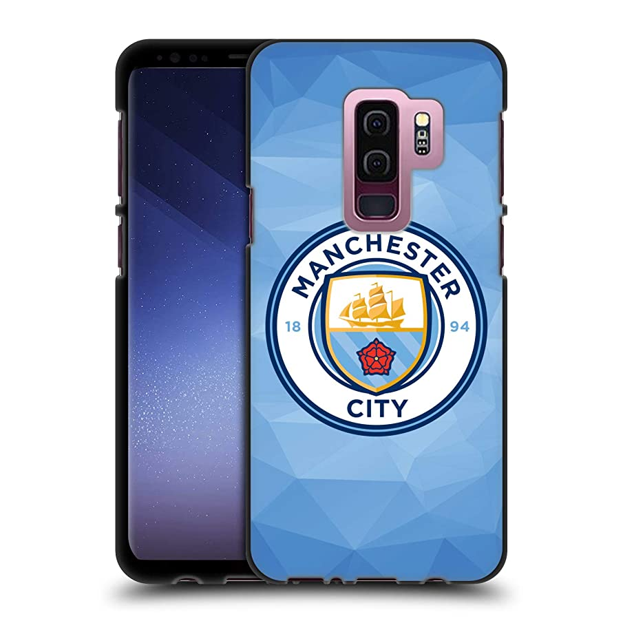 Official Manchester City Man City FC Blue Full Colour Badge Geometric Black Soft Gel Case for Samsung Galaxy S9+ / S9 Plus