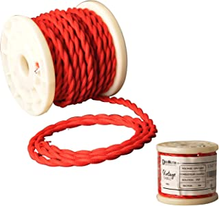 Decoluce Vintage Cable Twisted Cloth Covered Wire,10Meter/32.5Ft,18-Gauge/2-Conductor,DIY Antique Industrial Fabric Electrical Cloth Lamp Cord (Red)