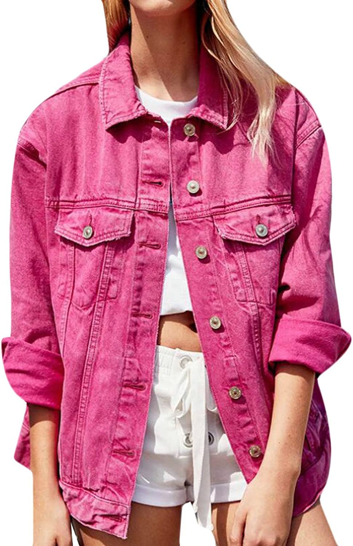 Pandapang Women's Candy color Denim Coat Lapel Collar Loose Coat Jean Denim Jacket