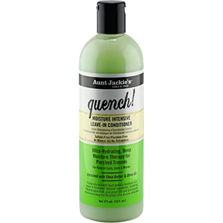 Aunt Jackie's Quench Moisture Intensive Leave-In Hair Conditioner for Natural Curls, Coils and Waves, Enriched with Shea Butter, Green, 16 Oz