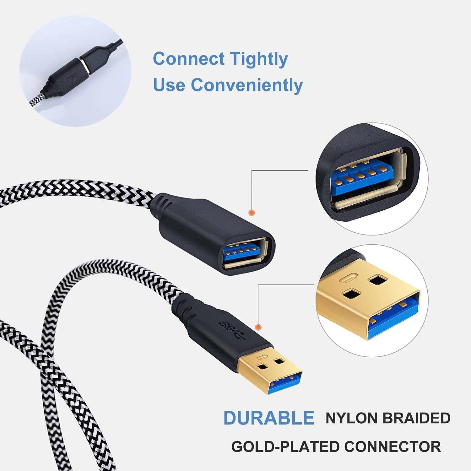 USB Extension Cable 10FT, OKRAY 3-Pack USB 3.0 Extension Cable Type A Male to A Female Extender Cord Nylon Braided with Gold Plated Connector for USB Flash Drive/Hard Drive/Hub (White White White)