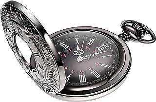Hicarer Vintage Pocket Watch Steel Men Watch with Chain (Black)