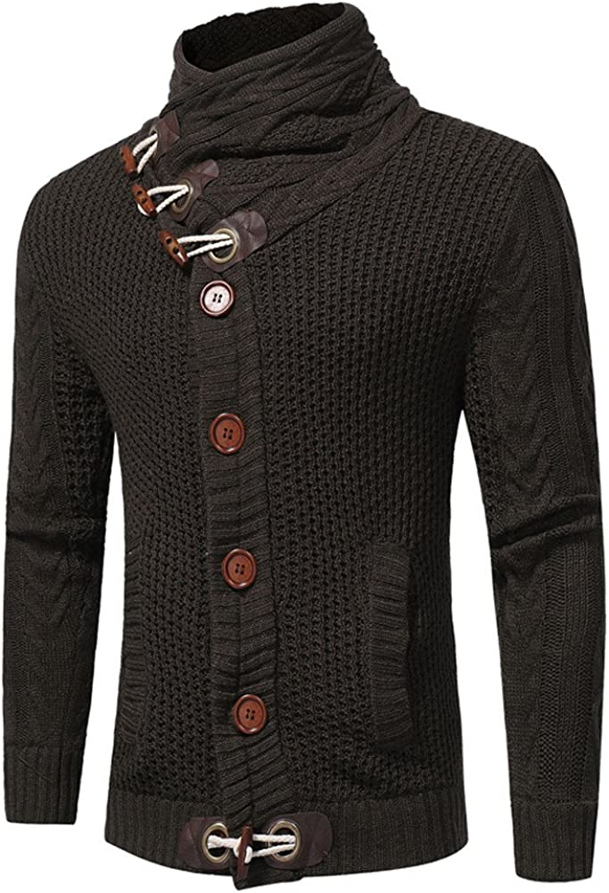 Mens Cardigan Sweaters, F_Gotal Men's Knitted Jacket Turtleneck Cardigan Winter Pullover Hoodies Casual Sweaters Jumper