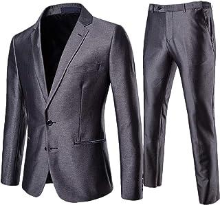 AOWOFS Men's 2-Piece Suit Slim Fit Non-Iron Men's Suit Business Wedding Suit Jacket Trousers