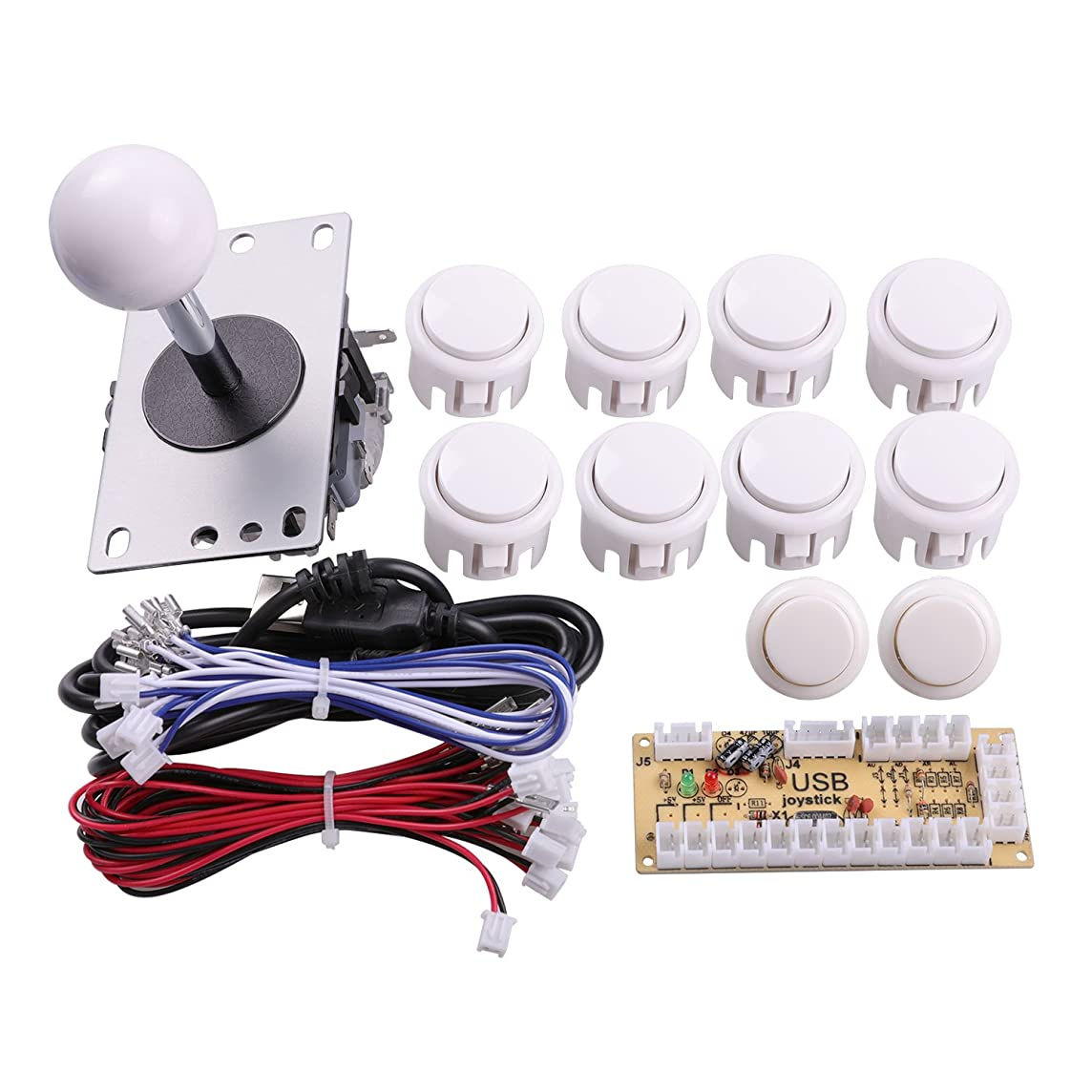 Easyget Zero Delay Arcade Game DIY Parts Kit for Raspberry Pi 1 2 3 Retropie & USB PC MAME Cabinet DIY Projects Color: White