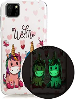 Mylne Luminous Effect Back Case Cover for Huawei Y5P,Noctilucent Glow in the Dark Green Soft Slim TPU Gel Flexible Bumper,...