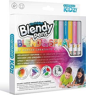 Blendy Pens Lot de 24 feutres, 12 crayons de couleur, 1 aérographe, 24 couleurs pour de superbes dégradés de couleur, kit ...
