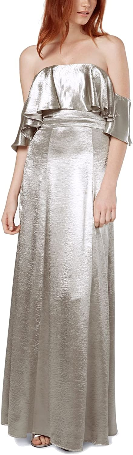 Fame And Partners Womens Metallic Ruffled Evening Dress