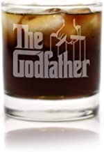 Movies On Glass - Premium Etched Godfather Movie Engraved Logo Whiskey Glass Godparent Gift 11 Ounces
