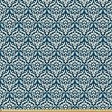 ABAKUHAUS Damast Stoff als Meterware, Blaues Blumenmuster,